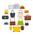 bag baggage suitcase icons set in flat style vector image