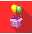 Balloons appearing from magic box icon flat style vector image vector image