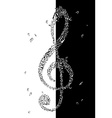 Black and white of treble clef vector image vector image