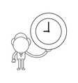 businessman character holding clock black outline vector image