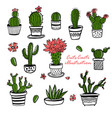 cactus and succulent hand drawn set in sketch vector image vector image