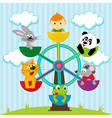 carousel with the boy and animals vector image vector image
