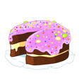 cartoon icon incised chocolate cake with blueberry vector image vector image