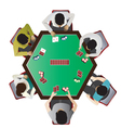 Casino furniture Poker table top view set 10 vector image vector image