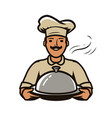 chef with tray logo restaurant diner food vector image vector image