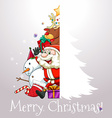 Christmas card with Santa and tree vector image vector image