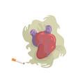 cigarette smoke and heart bad habit dangers of vector image vector image