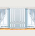 classic interior white wall with moulding frames vector image