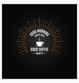 coffee logo coffee cup vinge label on black vector image