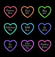 color valentines day neon heart frame set vector image vector image