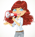 Cute curly haired girl speaks in a megaphone vector image vector image