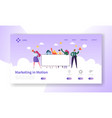 digital advertising team holding blank banner vector image vector image