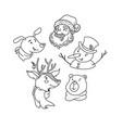 doodle xmas deer santa bear snowman funny dog vector image