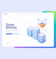 drone delivery automated aerial shipping banner vector image vector image