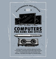 electronic device retro banner of computer gadget vector image vector image