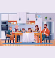 family dinner at kitchen table eat food together vector image vector image