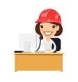 Female Construction Support Character at her Desk vector image vector image