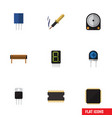flat icon electronics set of receptacle hdd cpu vector image vector image