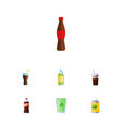flat icon soda set of bottle cup beverage and vector image vector image