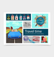 flat travel time composition vector image vector image