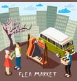 flea market composition vector image vector image