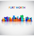 fort worth skyline silhouette vector image vector image