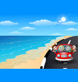 happy family riding a car in the seaside road vector image vector image