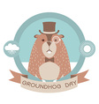 Happy groundhog day label isolated on white vector image vector image