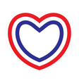 heart with contours of french flags colors vector image