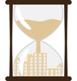 Hourglass with town inside vector image