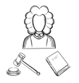 Judge gavel and law book sketches vector image