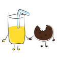 juice and cookie on white background vector image vector image