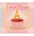 love Paris with tower Eiffel and coffee over pink vector image