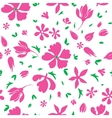 Magenta Flowers Silhouettes Seamless vector image vector image