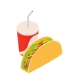 Mexican taco and soda cup vector image vector image