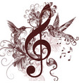music background with treble clef hummingbirds vector image