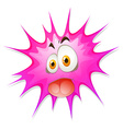 Pink splash with silly face vector image vector image
