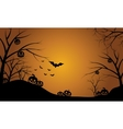 Pumpkins in hills scenery Halloween vector image