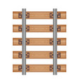 railway track road wood detailed top view rails vector image