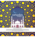 ramadan kareem islamic greeting with mosque and vector image vector image