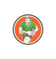 Rugby Player Running Ball Circle Retro vector image vector image