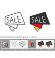 sale banner bubble linear icon editable stroke vector image