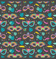 seamless pattern with carnival masks leaves and vector image vector image