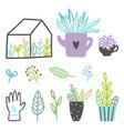 set cute plants vector image