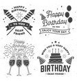 set happy birthday templates for overlay badge vector image vector image