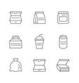 set line icons food packaging vector image