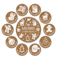 Set of 11 christmas wooden round card vector image vector image