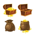 set two bags and chests with gold vector image vector image