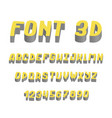 stylized font 3d and alphabet vector image