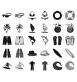 surfing and extreme blackmonochrome icons in set vector image vector image
